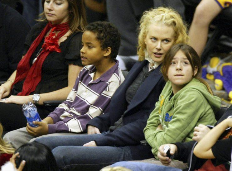 Nicole Kidman with her children Connor at a Los Angeles Lakers game in 2004. Photo: Matthew Simmons/Getty Images