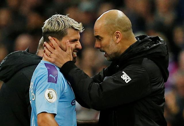Sergio Aguero (left), Pep Guardiola and Manchester City may have won Saturday, but there's a different feel about this season. (REUTERS/Andrew Yates)