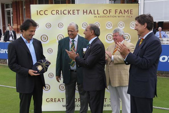 LONDON, ENGLAND - JULY 14:  Former Test cricketer Imran Khan of Pakistan is inducted into the ICC Cricket Hall of Fame during day two of the First Test between Pakistan and Australia at Lords on July 14, 2010 in London, England.  (Photo by Hamish Blair/Getty Images)