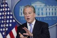 Gene Sperling, who leads the oversight for distributing funds from President Joe Biden's $1.9 trillion coronavirus rescue package, speaks during the daily briefing at the White House in Washington, Monday, Aug. 2, 2021. (AP Photo/Susan Walsh)
