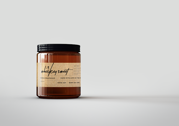 """Frères Branchiaux may have been the product of three young brothers (ages 10, 12, and 15) who wanted to make an extra buck to buy more video games, but that doesn't mean they don't offer an array of highly sophisticated candles. The Whiskey Sweet, for one, comes with underlying notes of pine, musk, and spicy citrus. $22, Freres Branchiaux. <a href=""""https://freresbranchiaux.com/collections/candles/products/whiskey-sweet-candle"""" rel=""""nofollow noopener"""" target=""""_blank"""" data-ylk=""""slk:Get it now!"""" class=""""link rapid-noclick-resp"""">Get it now!</a>"""