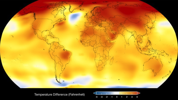 Reds, oranges, and yellows show 2017 global temperatures warmer than the average.