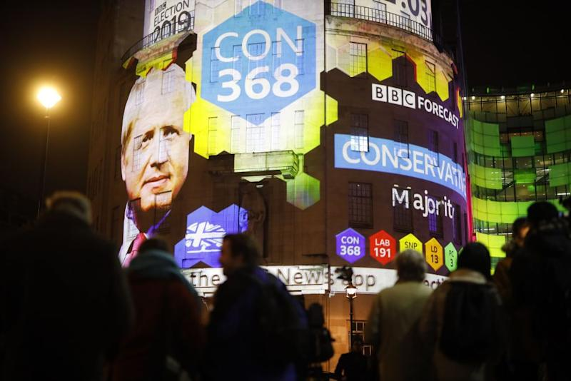 The broadcaster's exit poll results projected on the outside of the BBC building in London. Source: Getty