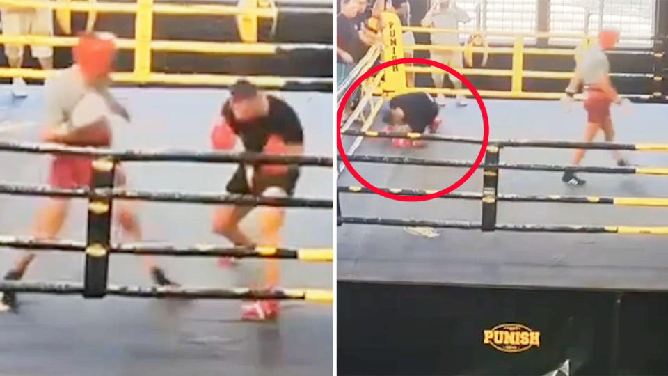 Justis Huni, pictured here being dropped during a sparring session in January.