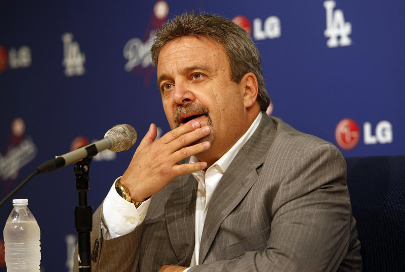 Los Angeles Dodger General Manager Ned Colletti, thinks as he spoke to the media following the Dodger 2013 season in the Dodger Stadium Interview Room on October 21, 2013. (Photo by Al Seib/Los Angeles Times via Getty Images)