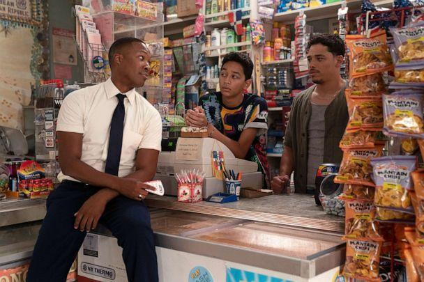PHOTO: From left, Corey Hawkins as Benny, Gregory Diaz Iv as Sonny and Anthony Ramos as Usnavi, in the film, 'In The Heights.' (Macall Polay/Warner Bros.)
