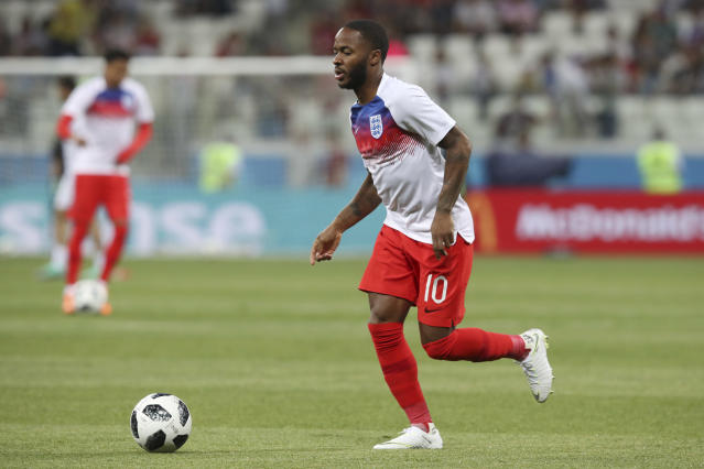 England's Raheem Sterling warms up prior to the start of the group G match between Tunisia and England at the 2018 soccer World Cup in the Volgograd Arena in Volgograd, Russia, Monday, June 18, 2018. (AP Photo/Thanassis Stavrakis)