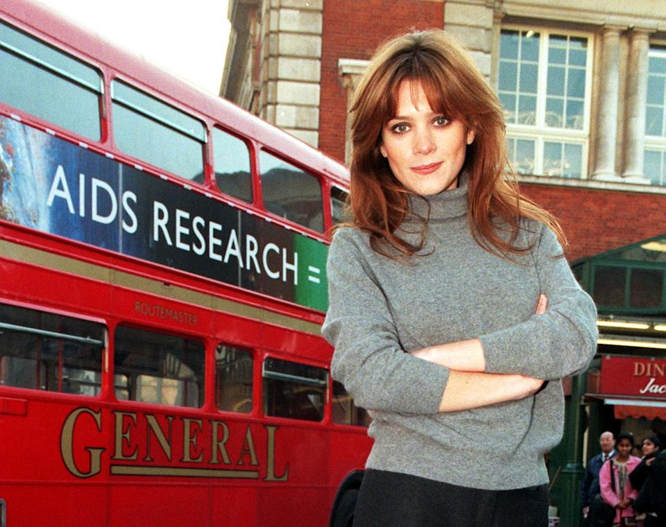 Former Brookside star Anna Friel launches a new bus poster in support of Aids research at The Transport Museum in central London this morning (Tuesday).The campaign, funded by the transport advertising company TDI (Transport Displays Incorporated), aims to remind everyone about the dangers of HIV, the virus believed to cause Aids, and to call for more research funding. The poster, which reads 'Aids research = Life', features the eye-catching bright colours of a painting by British artist Howard Hodgkin, who has donated the use of his artwork. It will be shown on 1,000 buses across the UK over the next three months. See PA story HEALTH Anna/By Neil Munns/PA.