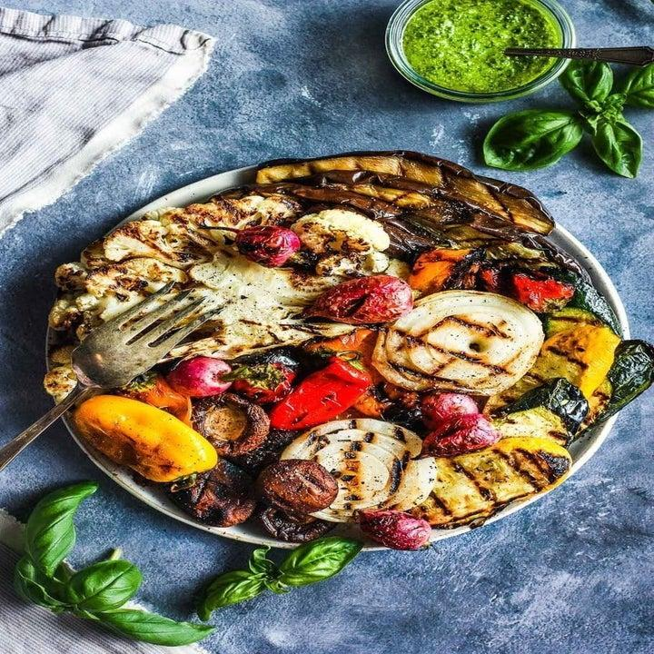 Plate of vegetables with charring marks