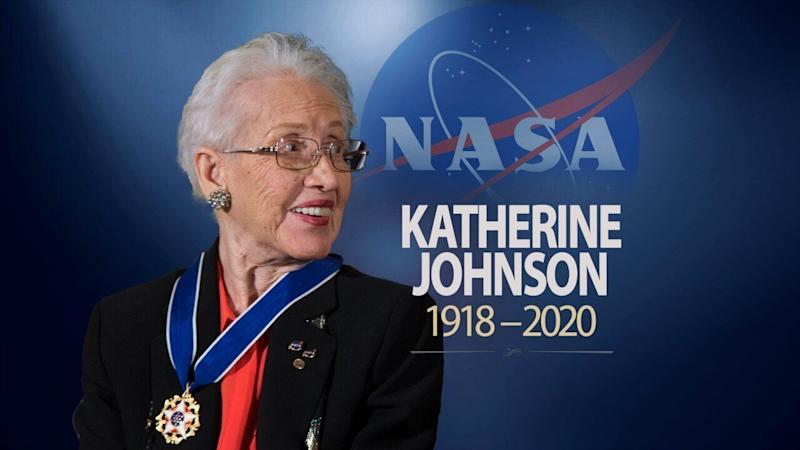 KATHERINE JOHNSON, mathematician, after receiving the Presidential Medal of Freedom from President Obama in 2015, on texture with 1918-2020 lettering, finished graphic (Photo: ASSOCIATED PRESS)