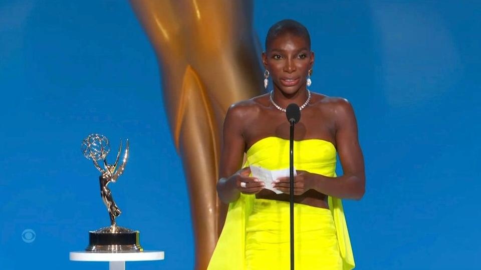 Michaela Coel accepts the award for outstanding writing for a limited or anthology series or movie for I May Destroy You (AP)
