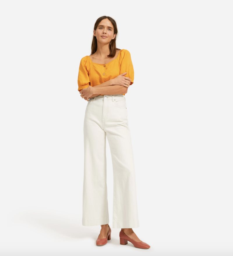 The Super-Soft Wide Leg Jean in Bone