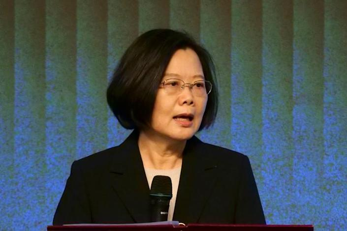 FILE PHOTO: Taiwan's President Tsai Ing-wen speaks to members of the American Chamber of Commerce at their annual general meeting in Taipei