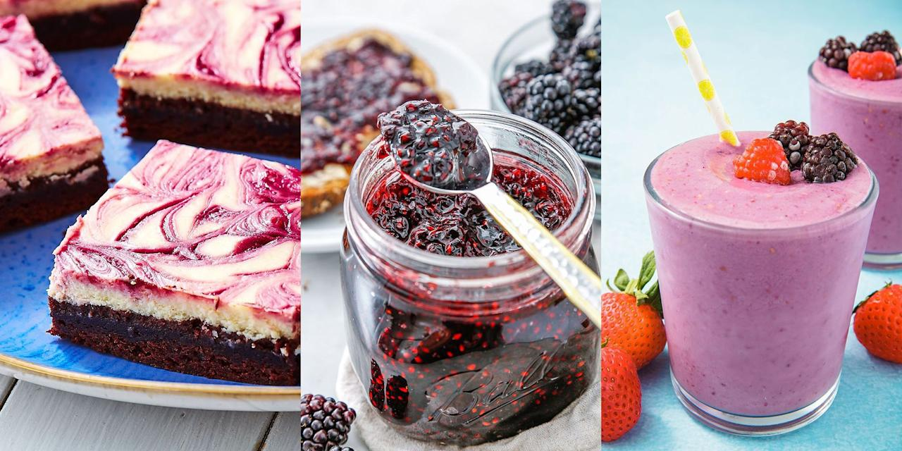 """<p>We love blackberries, especially when they're right in season and you can pick your own! Whether it's <a href=""""https://www.delish.com/uk/cooking/recipes/a32943811/blackberry-jam-recipe/"""" target=""""_blank"""">Blackberry Jam</a>, <a href=""""https://www.delish.com/uk/cooking/recipes/a33592676/blackberry-cheesecake-brownies-recipe/"""" target=""""_blank"""">Blackberry Cheesecake Brownies</a> (they're as delicious as they sound) or a classic <a href=""""https://www.delish.com/uk/cooking/recipes/a33592577/easy-blackberry-cobbler-recipe/"""" target=""""_blank"""">Blackberry Cobbler</a> you're after, we've got plenty of recipes that put this delicious-tasting fruit first. Don't forget to wash that all down with a <a href=""""https://www.delish.com/uk/cocktails-drinks/a33333249/blackberry-virgin-mojito-recipe/"""" target=""""_blank"""">Blackberry Virgin Mojito</a>, it's so refreshing. </p>"""