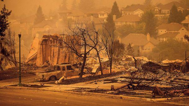 PHOTO: Houses leveled by the Glass Fire are viewed on a street in the Skyhawk neighborhood of Santa Rosa, Calif., Sept. 28, 2020. (Noah Berger/AP)