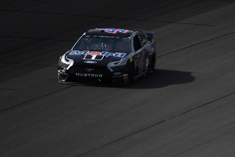 BROOKLYN, MICHIGAN - AUGUST 11: Kevin Harvick, driver of the #4 Mobil 1 Ford, races during the Monster Energy NASCAR Cup Series Consumers Energy 400 at Michigan International Speedway on August 11, 2019 in Brooklyn, Michigan. (Photo by Stacy Revere/Getty Images)