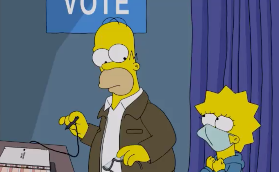 Homer Simpson votes for president in the 2020 US election in a recent episode with daughter Lisa.
