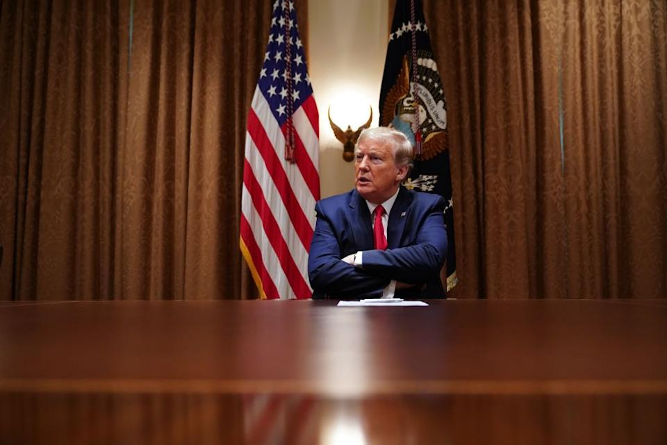US President Donald Trump speaks during a meeting with healthcare executives on April 14, 2020. Source: AFP