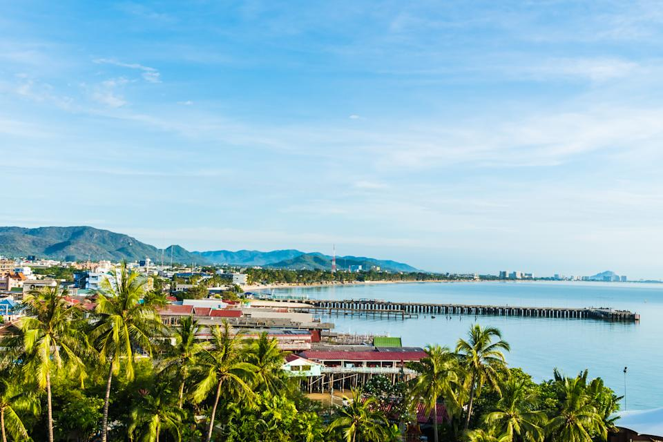 Beautiful hua hin city in Thailand with beach and sea