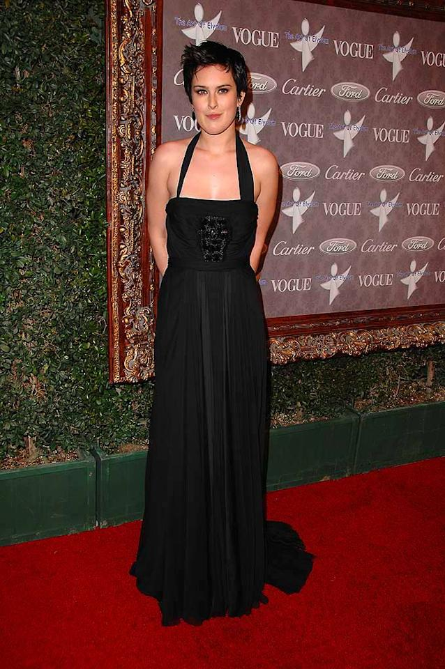"Dare we say that Rumer Willis actually looks decent in this elegant black gown? Steve Granitz/<a href=""http://www.wireimage.com"" target=""new"">WireImage.com</a> - January 12, 2008"