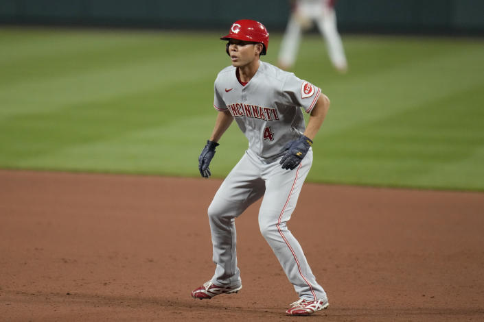 Cincinnati Reds' Shogo Akiyama gets a lead off first during the ninth inning of a baseball game against the St. Louis Cardinals Friday, June 4, 2021, in St. Louis. (AP Photo/Jeff Roberson)