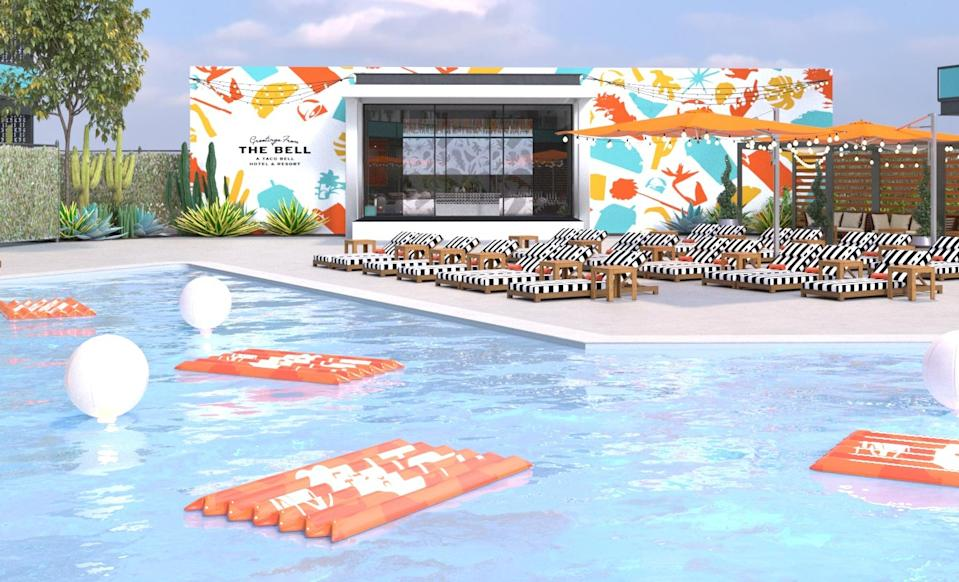 An illustration of Taco Bell's pop-up hotel, The Bell. Courtesy of Taco Bell