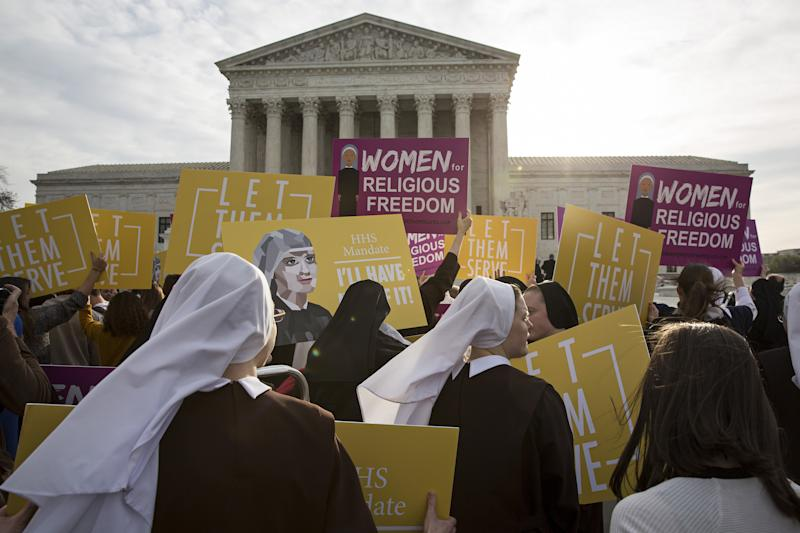 Nuns opposed to the Affordable Care Act's contraception mandate rallied outside of the Supreme Court in Washington, D.C., on March 23, 2016. (Bloomberg via Getty Images)