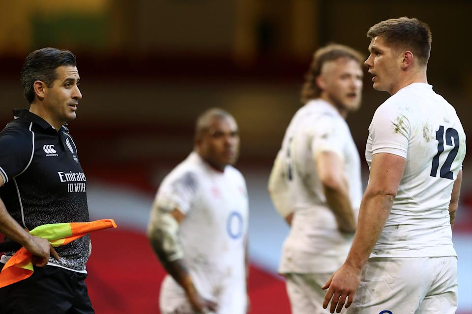 <p>Owen Farrell was unhappy with the officials during England's loss to Wales in Cardiff</p> (Getty Images)
