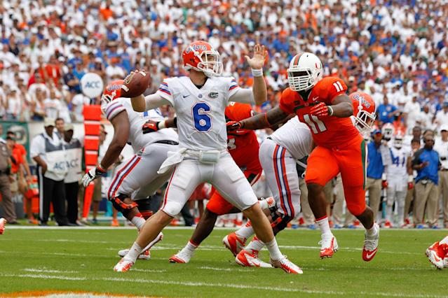 "Miami and Florida haven't played since 2013. <a class=""link rapid-noclick-resp"" href=""/nfl/players/29441/"" data-ylk=""slk:Jeff Driskel"">Jeff Driskel</a> was Florida's quarterback back then. (Getty Images)"