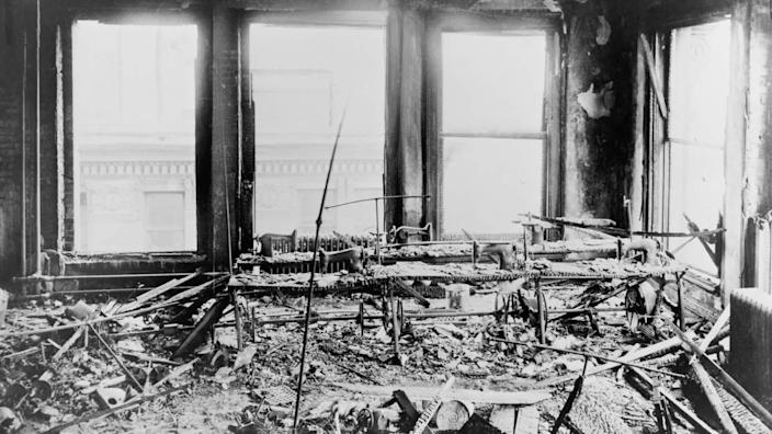 Triangle Shirtwaist Factory interior, destroyed sewing machines, gutted by a fire that killed 146 on March 25, 1911.
