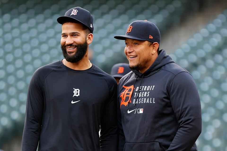 Nomar Mazara, left, and Miguel Cabrera look on before the game against the Mariners on May 18, 2021.