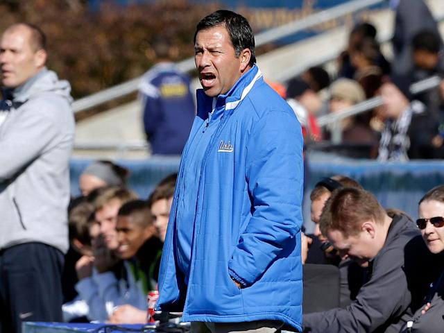 UCLA soccer coach Jorge Salcedo has been charged with racketeering. (AP Photo/Gerry Broome, File)