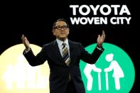 Akio Toyoda, president of Toyota Motor Corporation, speaks at a news conference, where he announced Toyota's plans to build a prototype city of the future on a 175-acre site at the base of Mt. Fuji in Japan, during the 2020 CES in Las Vegas
