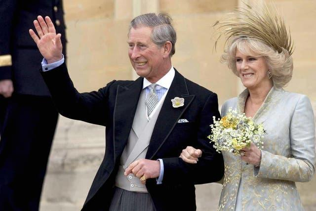 Charles and Camilla on their wedding day