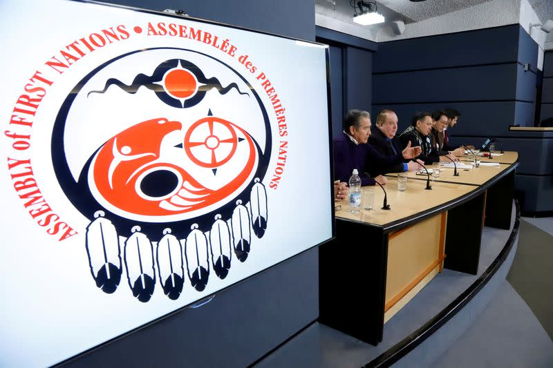 FILE PHOTO: First Nations leaders speak to the news media at the National Press Theatre in Ottawa