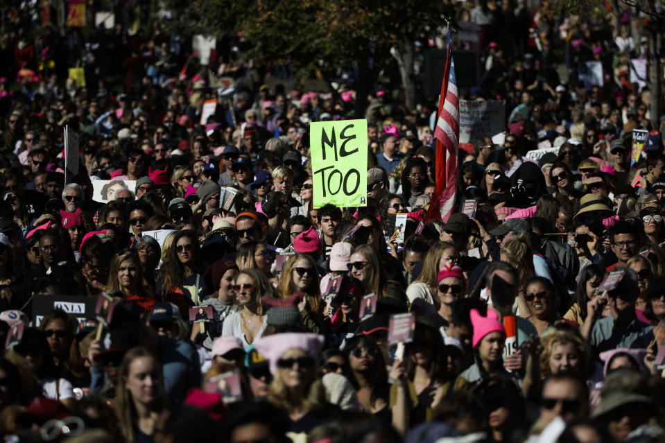 FILE - In this Jan. 20, 2018, file photo, protesters gather at the Grand Park in Los Angeles for a Women's March against sexual violence and the policies of the Trump administration. As the #MeToo movement marks the third year since it received global recognition, movement founder Tarana Burke is working to make sure it remains inclusive and reclaims its original intent: A focus on marginalized voices and experiences. (AP Photo/Jae C. Hong, File)