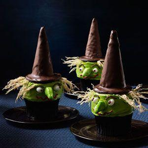 """<p>Put a sugar-coated spell on your guests with these bewitching treats, which elevate homemade vanilla cupcakes with a clever combination of chocolaty store-bought goods, frosting, and candy.</p><p><strong><a href=""""https://www.countryliving.com/food-drinks/recipes/a32822/witch-cupcakes-recipe-123434/"""" rel=""""nofollow noopener"""" target=""""_blank"""" data-ylk=""""slk:Get the recipe"""" class=""""link rapid-noclick-resp"""">Get the recipe</a>.</strong></p>"""