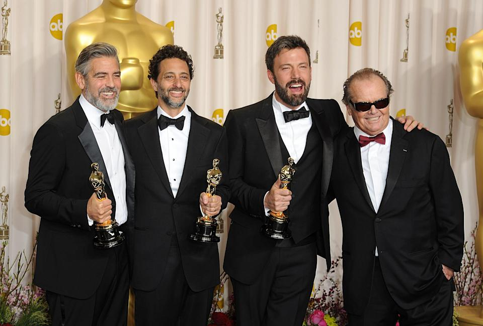 (left to right) George Clooney, Grant Heslov and Ben Affleck with the Oscar for Best Picture for Argo alongside Jack Nicholson (far right) at the 85th Academy Awards at the Dolby Theatre, Los Angeles.