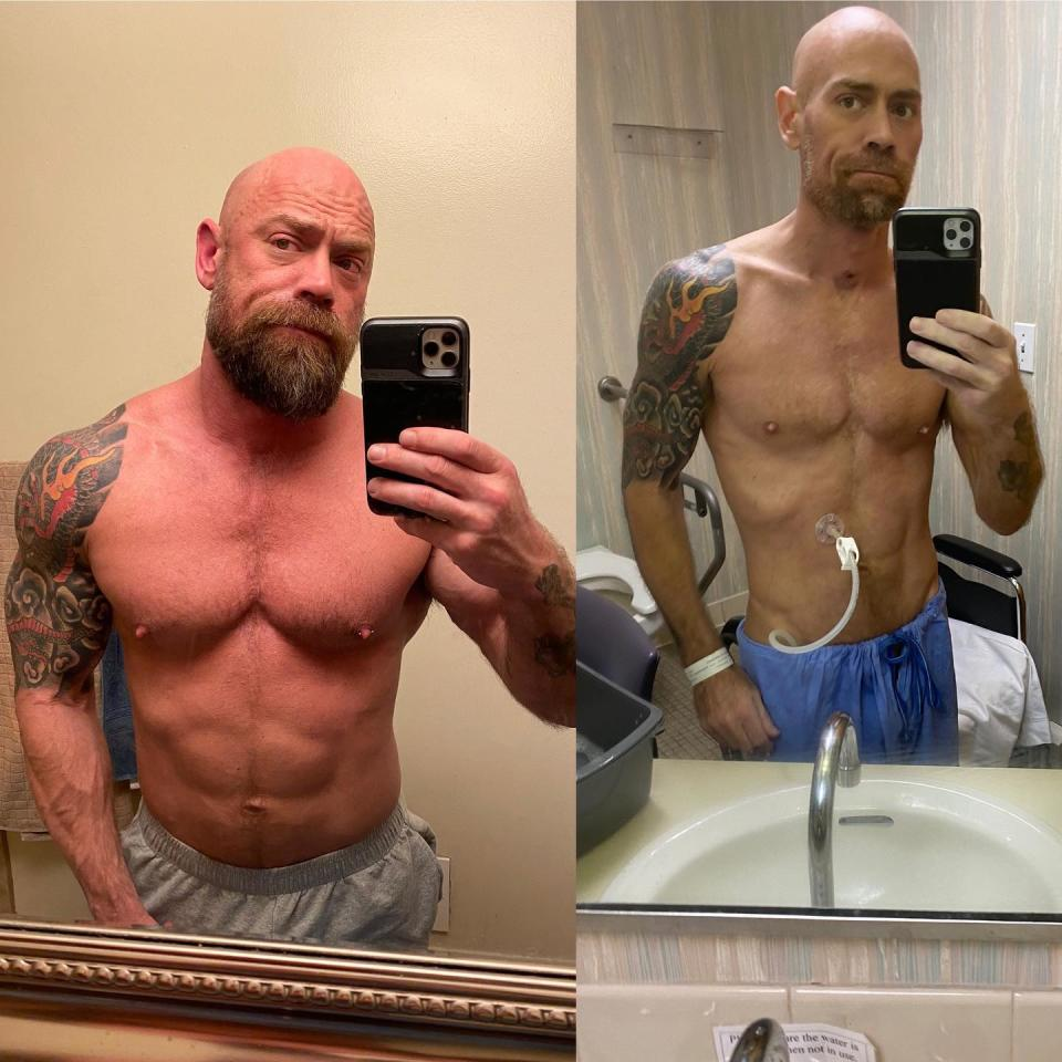 Mike Shultz shared before and after shots taken in the mirror.