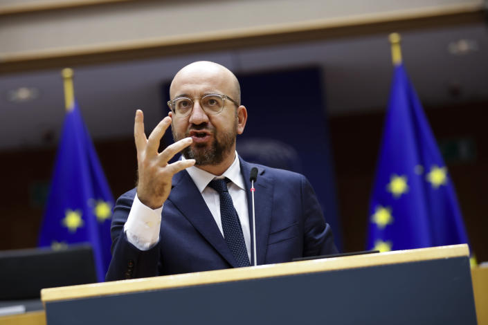 European Council President Charles Michel addresses European lawmakers during a plenary session on the inauguration of the new President of the United States and the current political situation, at the European Parliament in Brussels, Wednesday, Jan. 20, 2021. (AP Photo/Francisco Seco, Pool)