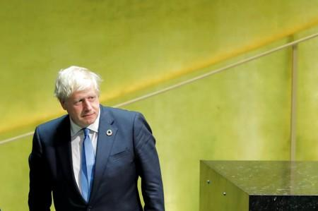 British Prime Minister Johnsonexits the podium after addressing the 74th session of the United Nations General Assembly at U.N. headquarters in New York City, New York, U.S.
