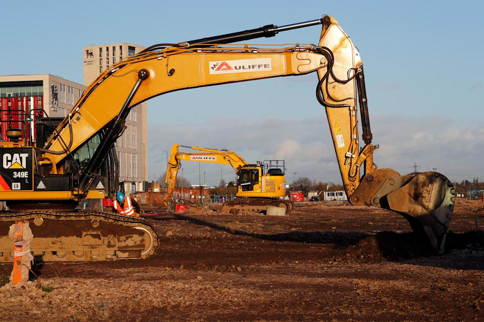 Excavators sit at Curzon Street railway station in Birmingham where the HS2 rail project is under construction.