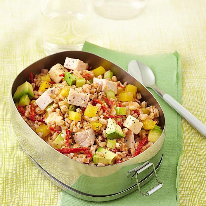 <p>This whole-grain farro salad recipe is studded with lean turkey, plenty of crunchy bell pepper, celery, smoked cheese and avocado--a perfect summer salad recipe to serve on a hot summer night. Look for farro--a quick-cooking high-fiber whole grain--in the bulk section or near other grains in natural-foods stores. Or skip Step 1 and add cooked barley as a substitute for the farro in Step 2. Serve with baby spinach salad with toasted almonds and creamy garlic dressing.</p>