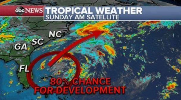 PHOTO: A Tropical Depression could form off of the coast of Florida early this week. (ABC News)