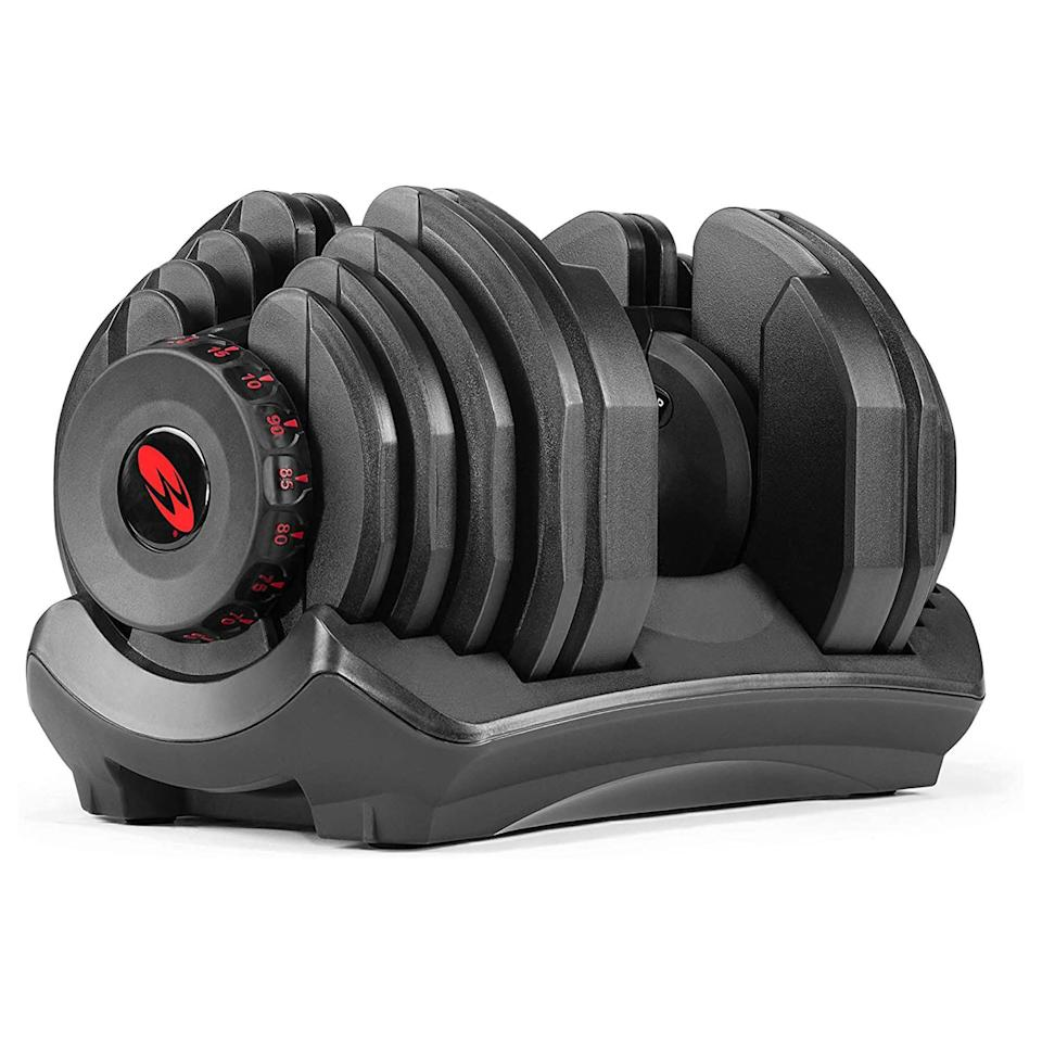 """<p><strong>Bowflex</strong></p><p>amazon.com</p><p><strong>$469.99</strong></p><p><a href=""""https://www.amazon.com/dp/B000OC5RXE?tag=syn-yahoo-20&ascsubtag=%5Bartid%7C2142.g.36483327%5Bsrc%7Cyahoo-us"""" rel=""""nofollow noopener"""" target=""""_blank"""" data-ylk=""""slk:Buy Now"""" class=""""link rapid-noclick-resp"""">Buy Now</a></p><p>This premium offering is 17 sets of adjustable dumbbells all housed in one for the most serious pump. While they're on the pricier side, at over $400 per dumbbell, they go up to 90 pounds each—not common for adjustable options. They use the same twist technology as the Bowflex SelectTech 552s, making them just as easy to adjust. They start at 10 pounds and increase in increments of five. </p>"""