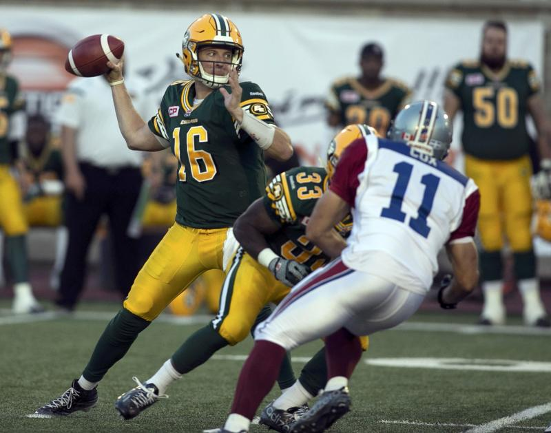 Eskimos' quarterback Matt Nichols throws against Montreal Alouettes during the first half of their CFL football game in Montreal