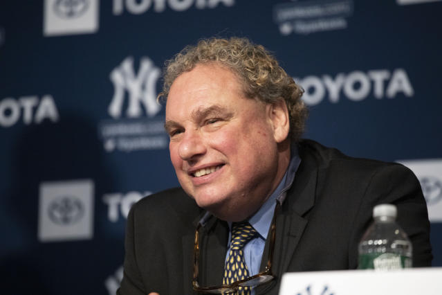 Yankees President Randy Levine smiles as Gerrit Cole is introduced as the newest New York Yankees player during a baseball media availability, Wednesday, Dec. 18, 2019 in New York. The pitcher agreed to a 9-year $324 million contract. (AP Photo/Mark Lennihan)