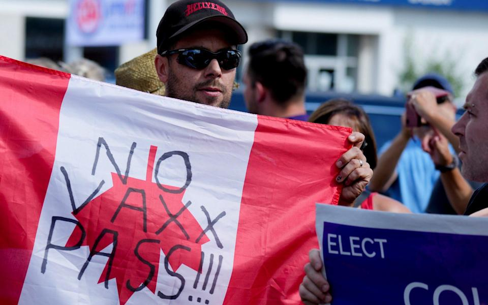 The anti-vaccine movement has converged with a rise in popularity of the far-right People's Party of Canada - Carlos Osorio/Reuters