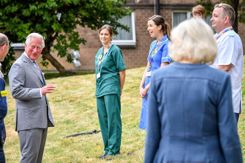The Prince of Wales and the Duchess of Cornwall meet front line key workers who who have responded to the COVID-19 pandemic during a visit to Gloucestershire Royal Hospital.