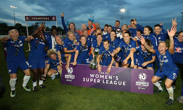 Chelsea Ladies celebrate winning the league and cup double after their 2-0 victory over Bristol City Women.